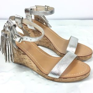 BODEN Silver Wedge Heel Cork Tassel Leather 8.5 40
